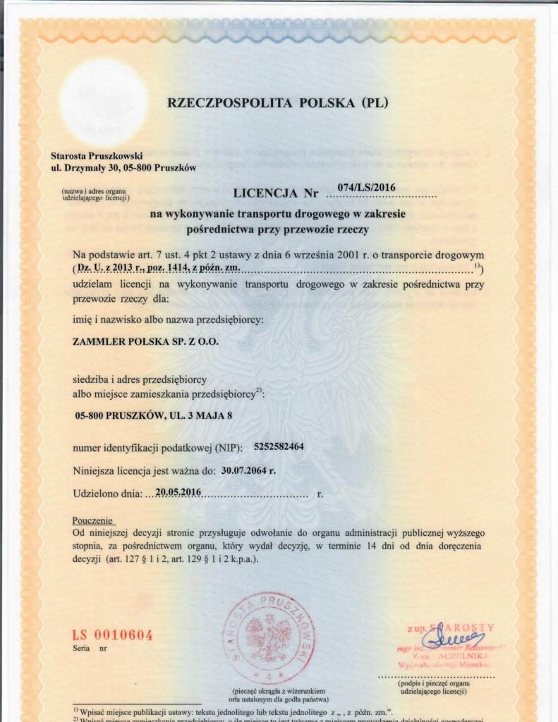 Licencja Nr 074/LS/2016